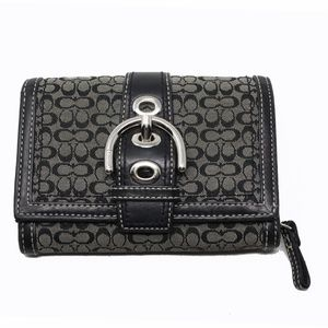 Coach Fabric and Leather Wallet, Silver Hardware
